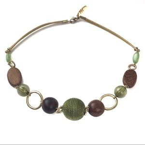 New York & Company Gold-tone Wood Green Necklace